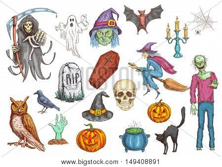 Halloween color sketch icons and elements. Isolated vector pumpkin candle, witch hat, spooky ghost, dead man, zombie hand, coffin on graveyard tomb, skull, midnight owl, spider web, magic cauldron