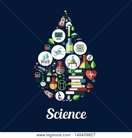 Science icon in shape of drop. Vector icons of genetics and biochemistry objects , atom, dna, chemicals, microscope, rocket, substance, gene, molecule proton magnet books