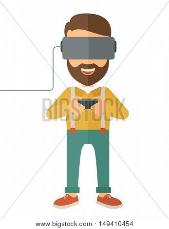 A caucasian wearing a virtual relaity headset.  flat design isolated on white background.