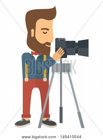 A Photographer Standing preparing his camera with stand to take a picture. A Contemporary style.  flat design illustration isolated white background. Vertical layout