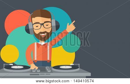 A caucasian disc jockey with headphone mixing music inside the studion room. A contemporary style with pastel palette black tinted and colorful round background.  flat design illustration. Horizontal