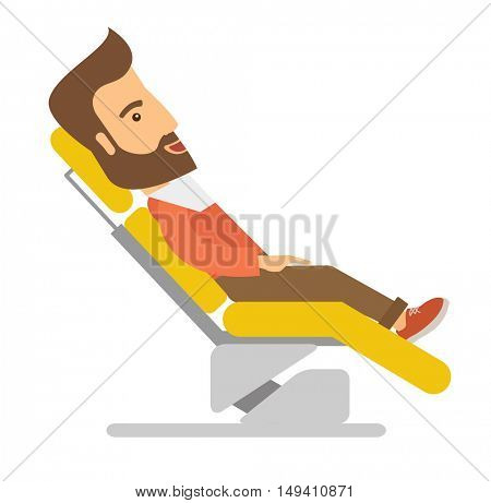 A caucasian Man lying in dentist chair.  A Contemporary style.  flat design illustration isolated white background. Square layout.