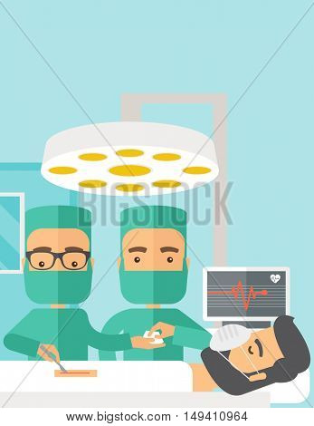 A two surgeons looking over a lying patient in an operating room. Contemporary style with pastel palette, soft blue tinted background.  flat design illustrations. Vertical layout with text space on