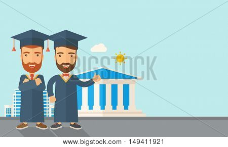 A happy two young men wearing a toga and graduation cap standing under the sun. A Contemporary style with pastel palette, soft blue tinted background with desaturated clouds.  flat design illustration