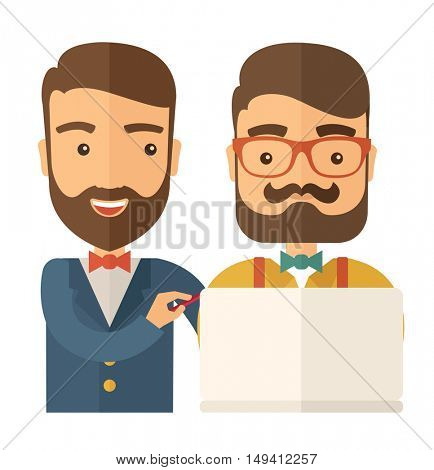 A two caucasian workers using laptop. A Contemporary style. flat design illustration isolated white background. Square layout.