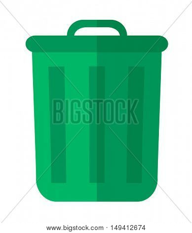 A plastic green garbage bin, container for waste or junk materials. A Contemporary style. flat design illustration isolated white background. Vertical layout.