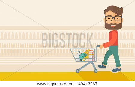 A male shopper pushing a shopping cart inside the supermarket. A Contemporary style with pastel palette, soft beige tinted background. flat design illustration. Horizontal layout.