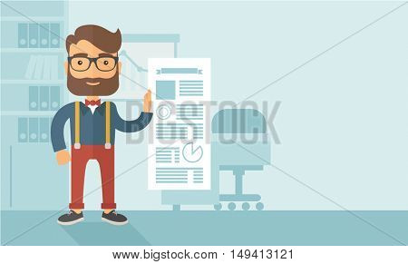 A Caucasian man happy standing inside his office  showing his complete paper works report on time. Achievemnet concept. A contemporary style with pastel palette, soft blue tinted background. flat