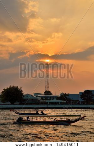 Longtail Boat In The Chao Phraya River