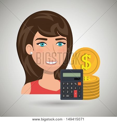 woman money coins vector illustration eps 10