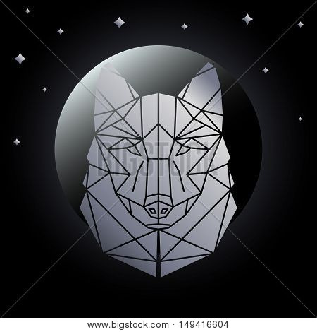 Silver wild wolf Abstract geometric polygonal triangle illustration for use in design for card invitation poster banner placard billboard cover. Wolf head on the background of the moon and stars.