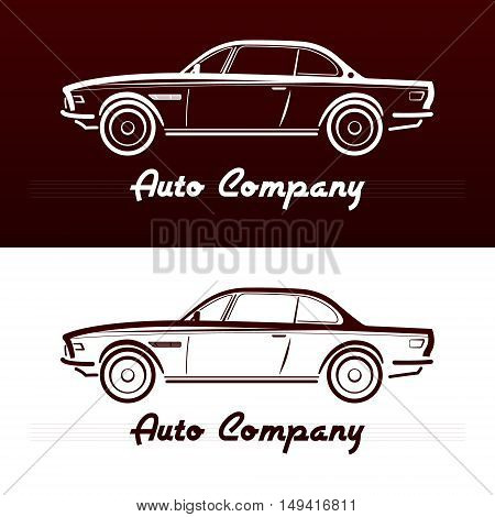 Design Concept with classic Germany style car silhouette on vinous background. Vector illustration. Abstract retro car design.