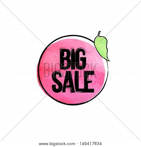 Vector hand drawn watercolor labels for sale. Red sticker with text big sale. Illustrations for graphic and web design, for shopping, sale and discount, web.