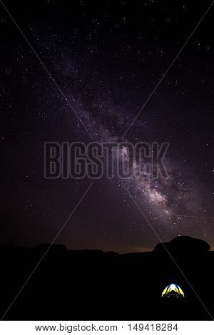 Camping tent under the starry skies with the Milky Way galaxy