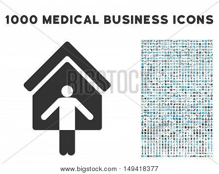 House Owner Wellcome icon with 1000 medical commercial gray and blue vector pictograms. Set style is flat bicolor symbols, white background.