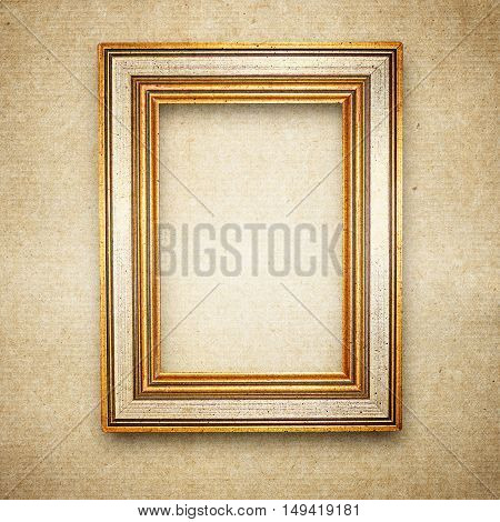 Ventage Wood Frame Background, On Grunge Paper Texture
