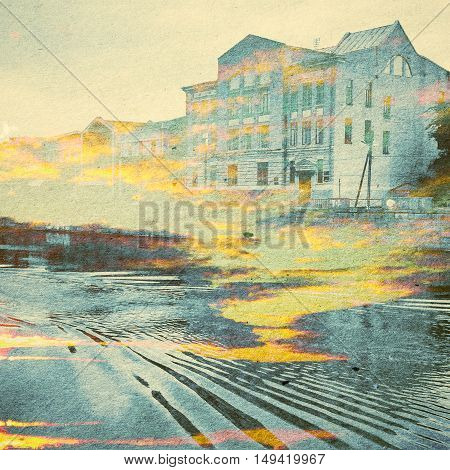 Fantasy Ecology Abstract Background. Urban Landscape Mixed With The Natural On Paper Texture. Vintag