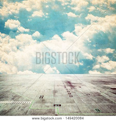 concrete floor on a background of clouds. sky background