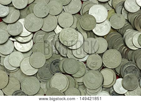Thai Baht Coins. Coins Of Thailand. Many Of Thai Baht Coins Background