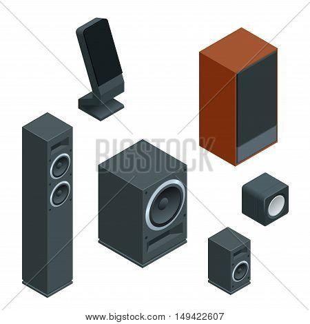 Music speakers isolated on white background and music speakers vector icon. Flat music speakers audio, loudspeaker bass stereo equipment music speakers. Studio entertainment electronic music speakers