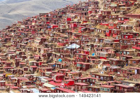 Top view monastery at Larung gar (Buddhist Academy) Sichuan China
