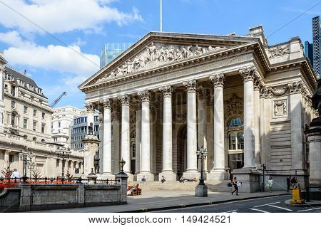 LONDON UK - AUGUST 21 2015: Royal Exchange building in the city of London