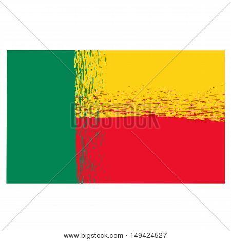 National Grunge Flag of Benin Isolated on White Background.  Indepence Symbol of Benin.