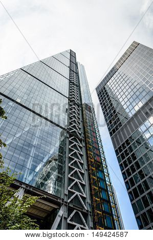 LONDON UK - AUGUST 21 2015: Low angle view of Leadenhall Tower designed by the architect Richard Rogers
