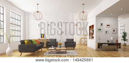 Modern interior of living room scandinavian style 3d rendering
