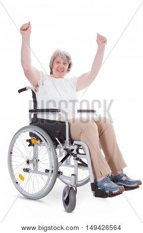 Cheering senior sitting in wheelchair. All on white background.
