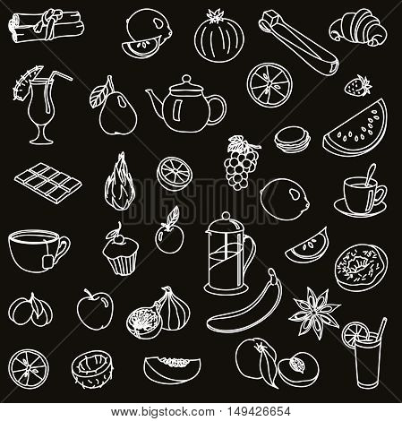 foodstuffs. fruit. vegetables. food. set of vector sketches on a black background