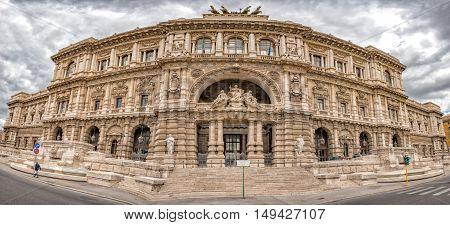 Rome Corte Di Cassazione Palace View On Cloudy Day