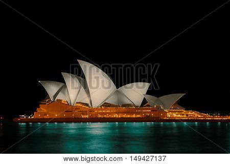 Long exposure Sydney Opera House at night.Sep 29,2016 Sydney Opera House Sydney,Australia is famous art center.Over 10 millions tourists visit Sydney a year.