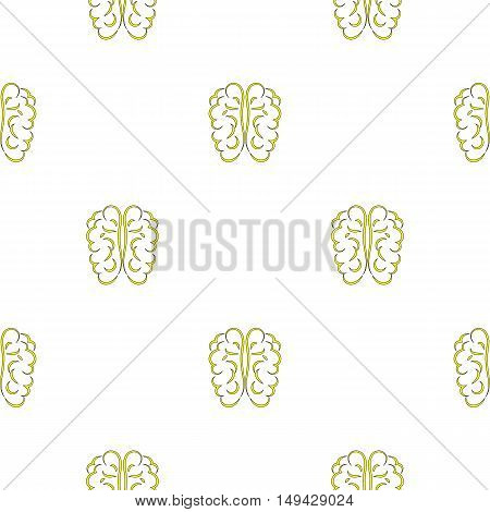 Human Brain Icon Seamless Pattern on White