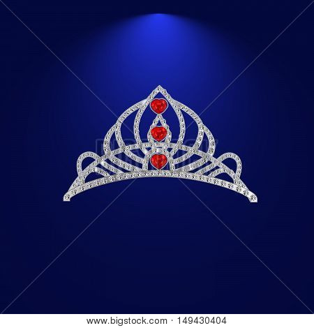 female diadem of precious stones with ruby hearts vector illustration