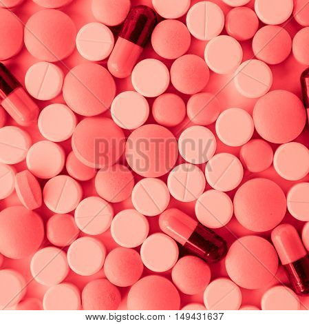 pills and capsules for a background, a blank space for text