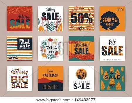 Set Of Artistic Creative Autumn Sale Cards.