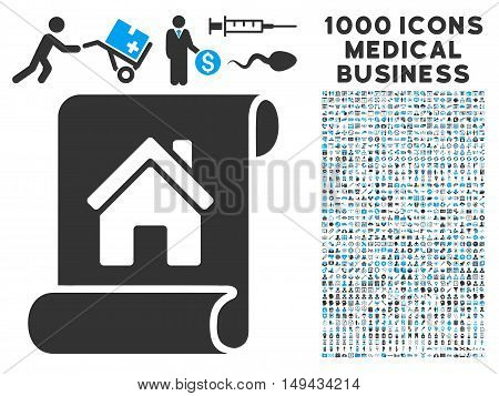 Realty Description Roll icon with 1000 medical commercial gray and blue vector design elements. Collection style is flat bicolor symbols, white background.