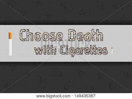 Cigarettes And Skulls On Dark Background