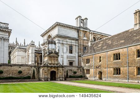 CAMBRIDGE UK - AUGUST 11 2015: Court in the Gonville & Caius College in the University of Cambridge. Cambridge is a university city and one of the top five universities in the world.