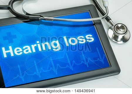 Tablet With The Diagnosis Hearing Loss On The Display