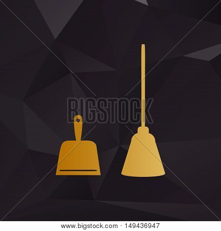 Dustpan Vector Sign. Scoop For Cleaning Garbage Housework Dustpan Equipment. Golden Style On Backgro
