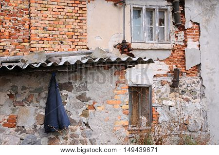 SOZOPOL BULGARIA - SEPTEMBER 7 2016: Part of dilapidated building in the town