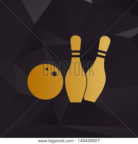 Bowling Sign Illustration. Golden Style On Background With Polygons.