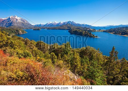 Lake in Nahuel Huapi National Park. It is located near the Bariloche city Patagonia region in Argentina. poster