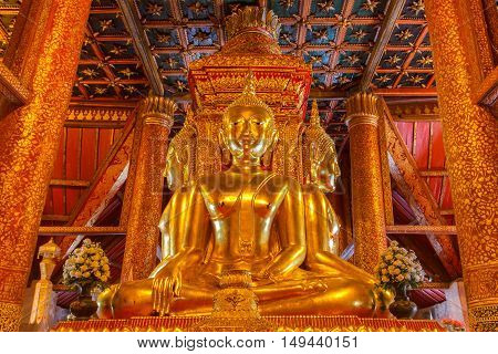NAN THAILAND-NOVEMBER 24 2013 : Buddha image in church of Wat Phumin Nan Thailand