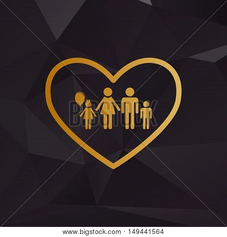 Family Sign Illustration In Heart Shape. Golden Style On Background With Polygons.