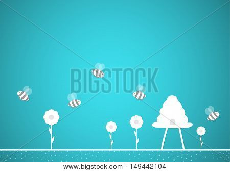 Bees And Hive On Blue Background