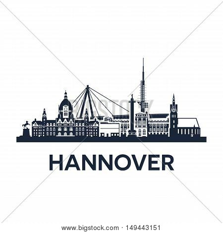 Abstract skyline of city Hannover in Germany, vector illustration