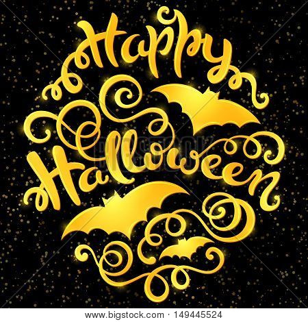 Happy Halloween card with hand-drawn lettering, vector illustration